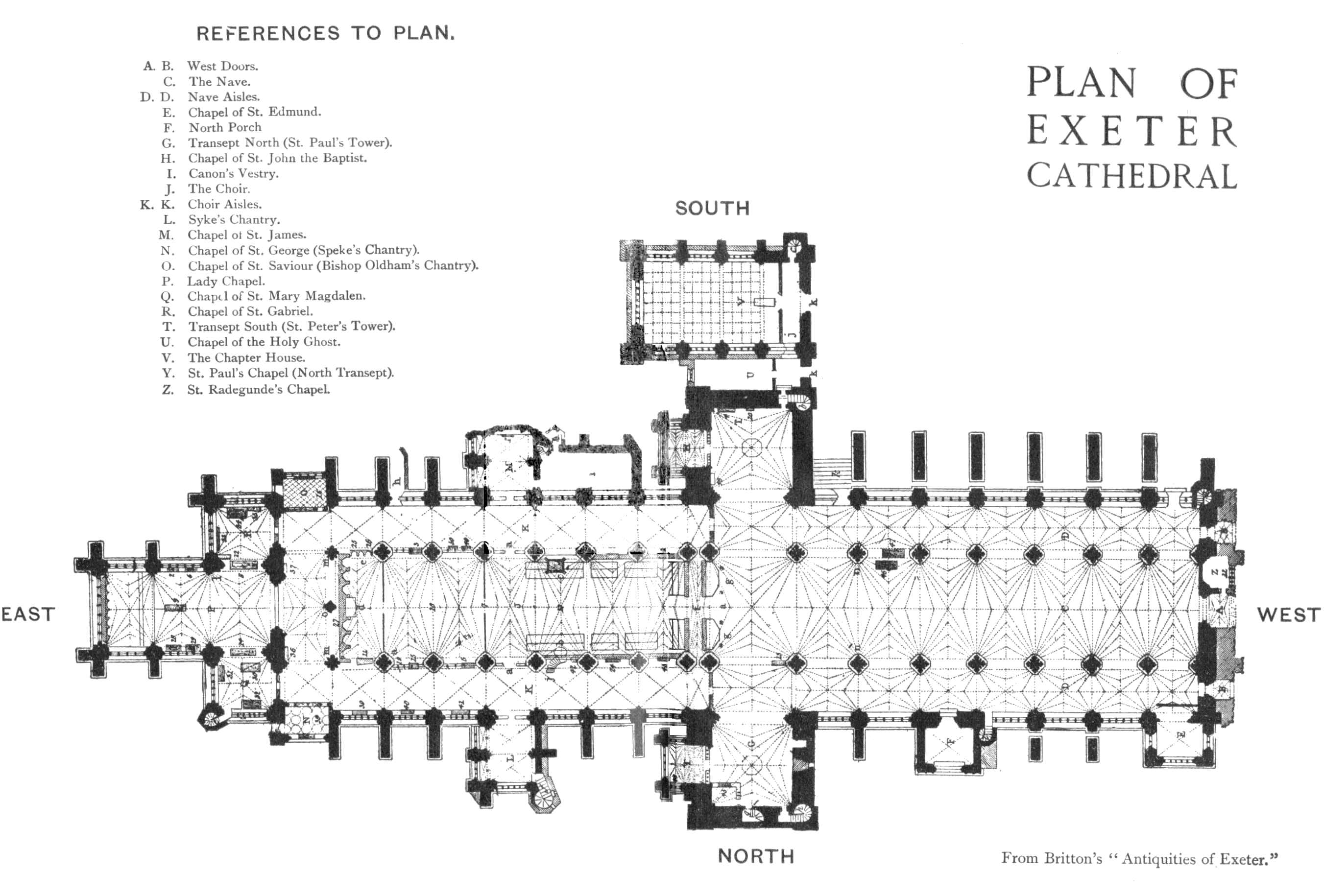 Plan of Exeter Cathedral
