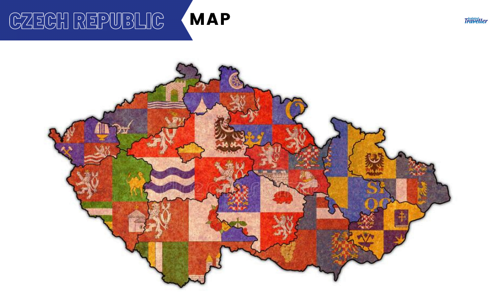 Map of regions on administration map of Czech Republic
